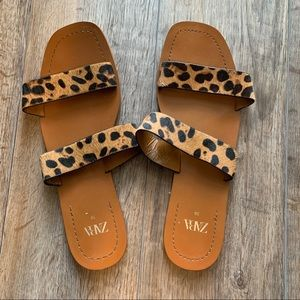 Women's Zara tan cheetah print sandals